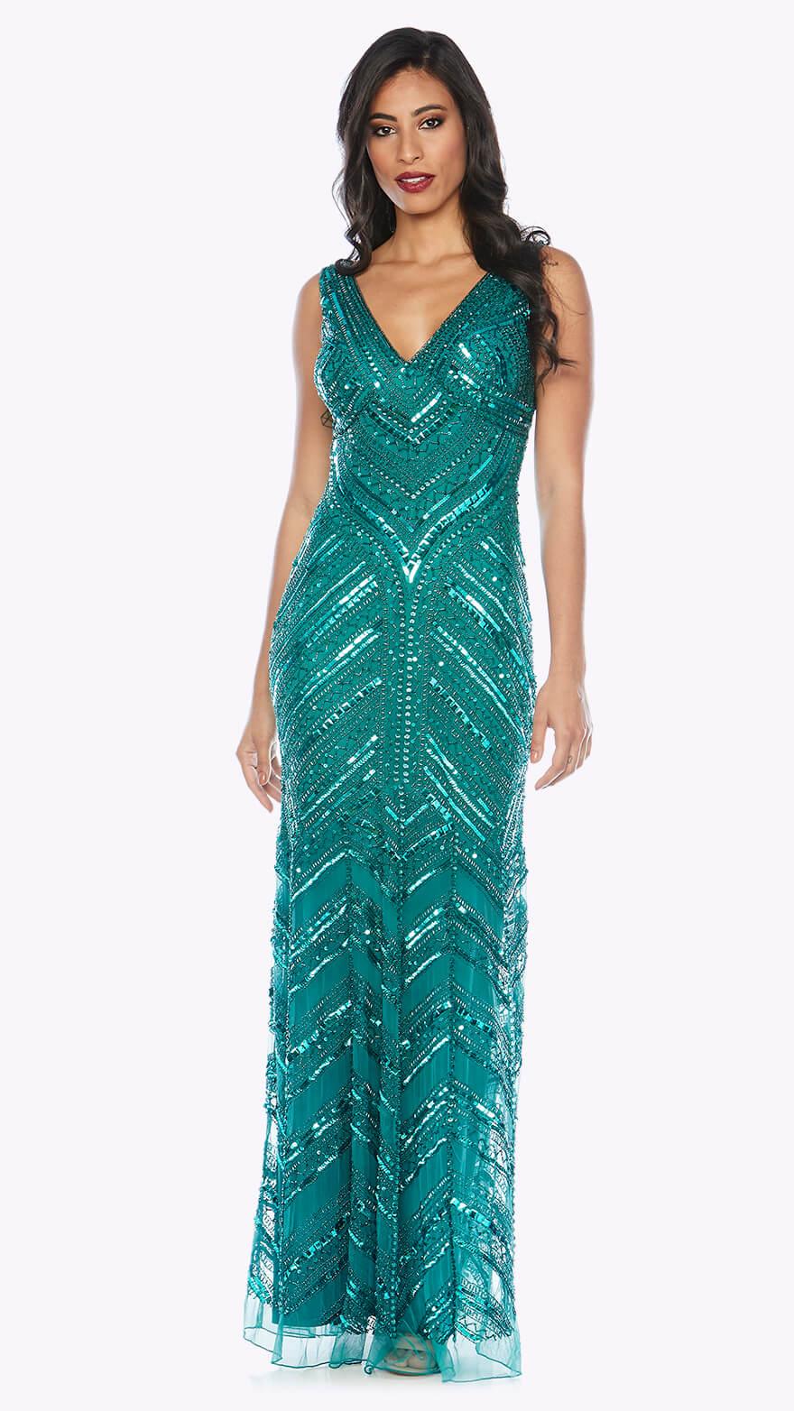 Z0001 Floor-length beaded gown with V neckline and fishtail skirt