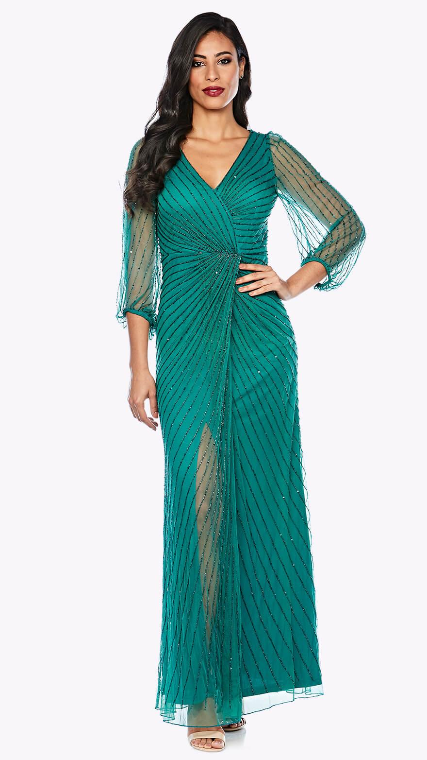 Z0066 Long peasant sleeve beaded wrap dress