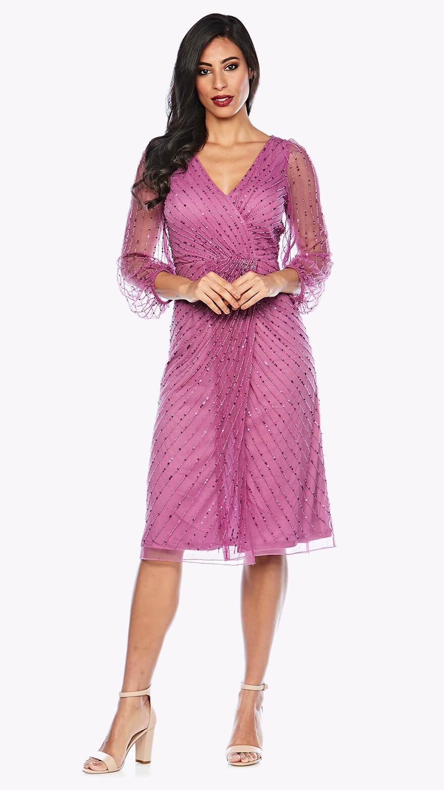 Z0133 Cocktail length peasant sleeve beaded wrap dress