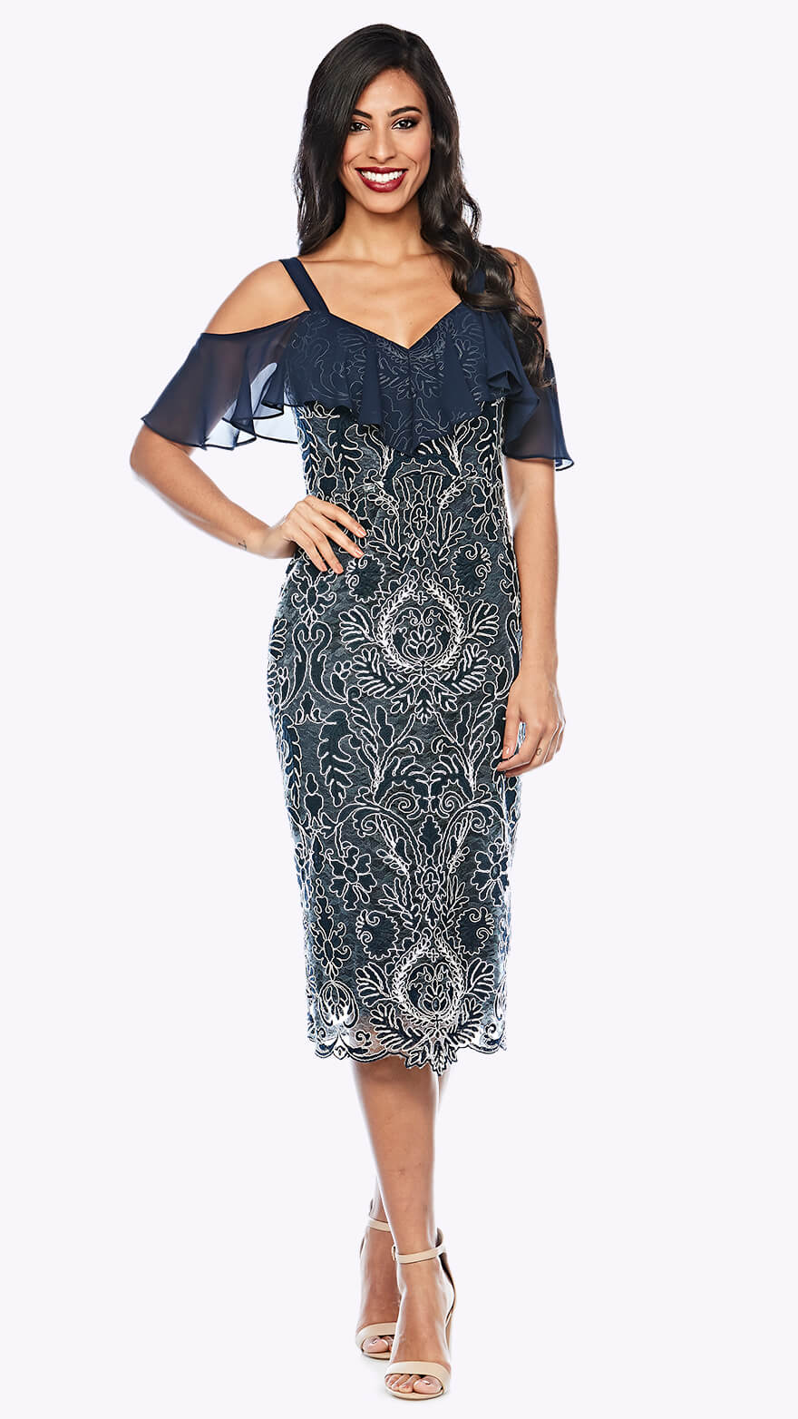 Z00145 Cold-shoulder corded lace dress with chiffon overlay sleeve