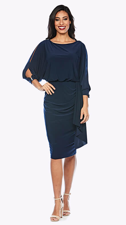 Blouson style knee-length dress with wrap style skirt and open 3/4 sleeve