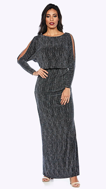 Shimmer blouson style gown with open full-length sleeve