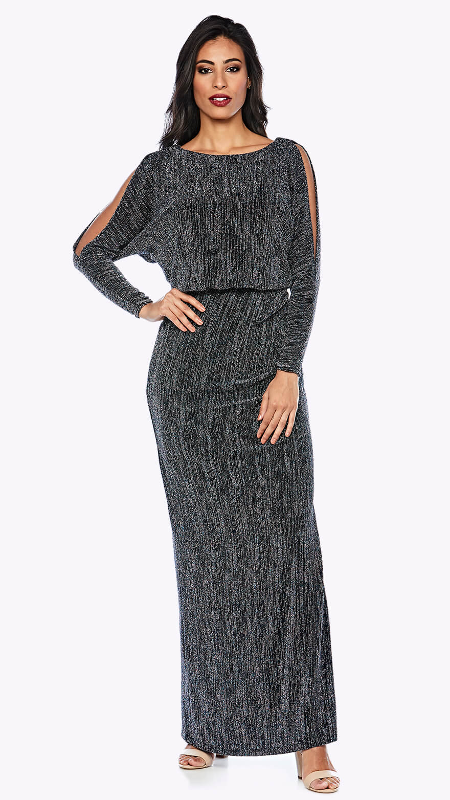 Z0189 Shimmer blouson style gown with open full-length sleeve