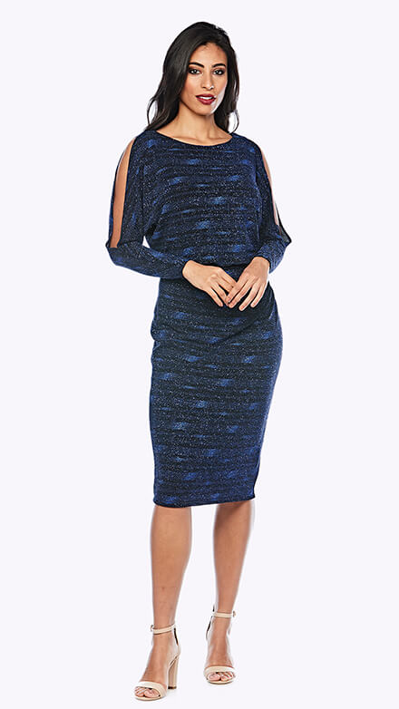Shimmer blouson style cocktail dress with open full-length sleeve