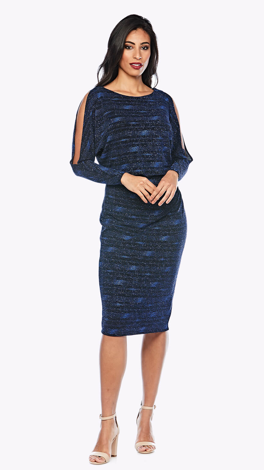 Z0190 Shimmer blouson style cocktail dress with open full-length sleeve