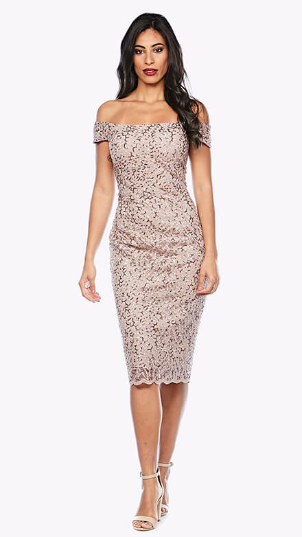 Off the shoulder cocktail dress with scalloped hemline in sequin adorned lace