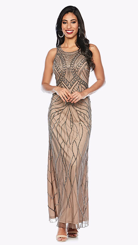 Full-length beaded gown in organic pattern with rounded neckline