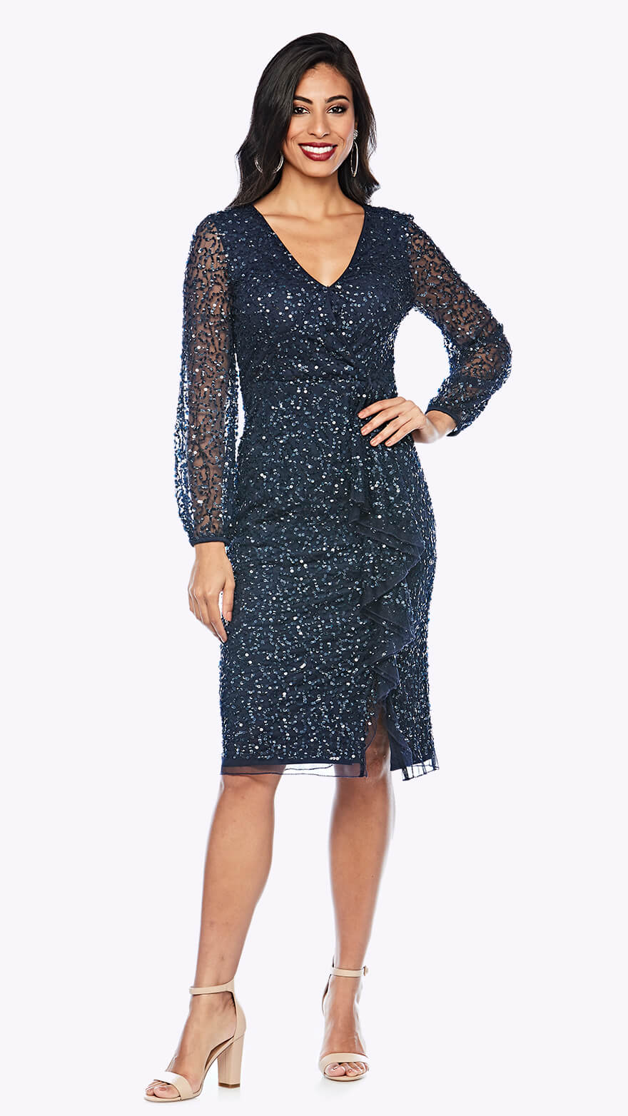 Z0199 Beaded peasant sleeve cocktail dress with V neckline and waterfall style wrap skirt