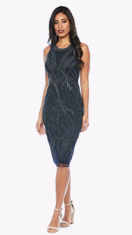 Cocktail length beaded gown in organic pattern with rounded neckline