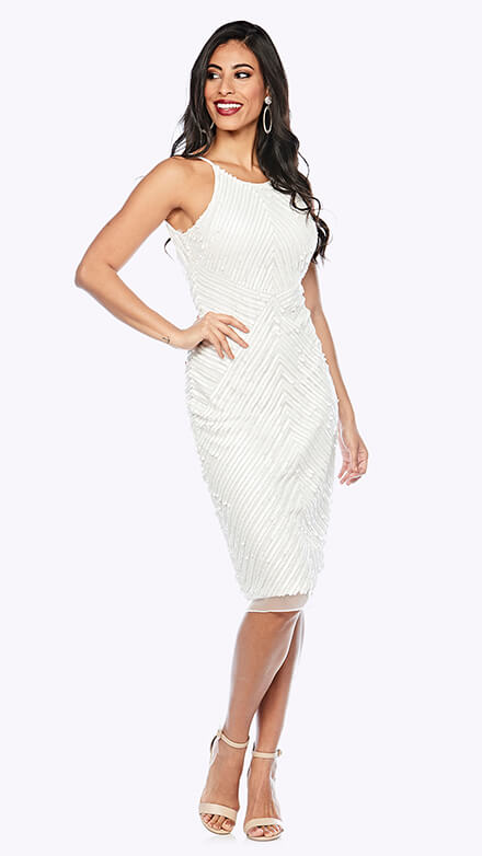 Cocktail length beaded gown in geometric pattern with rounded neckline and spaghetti straps