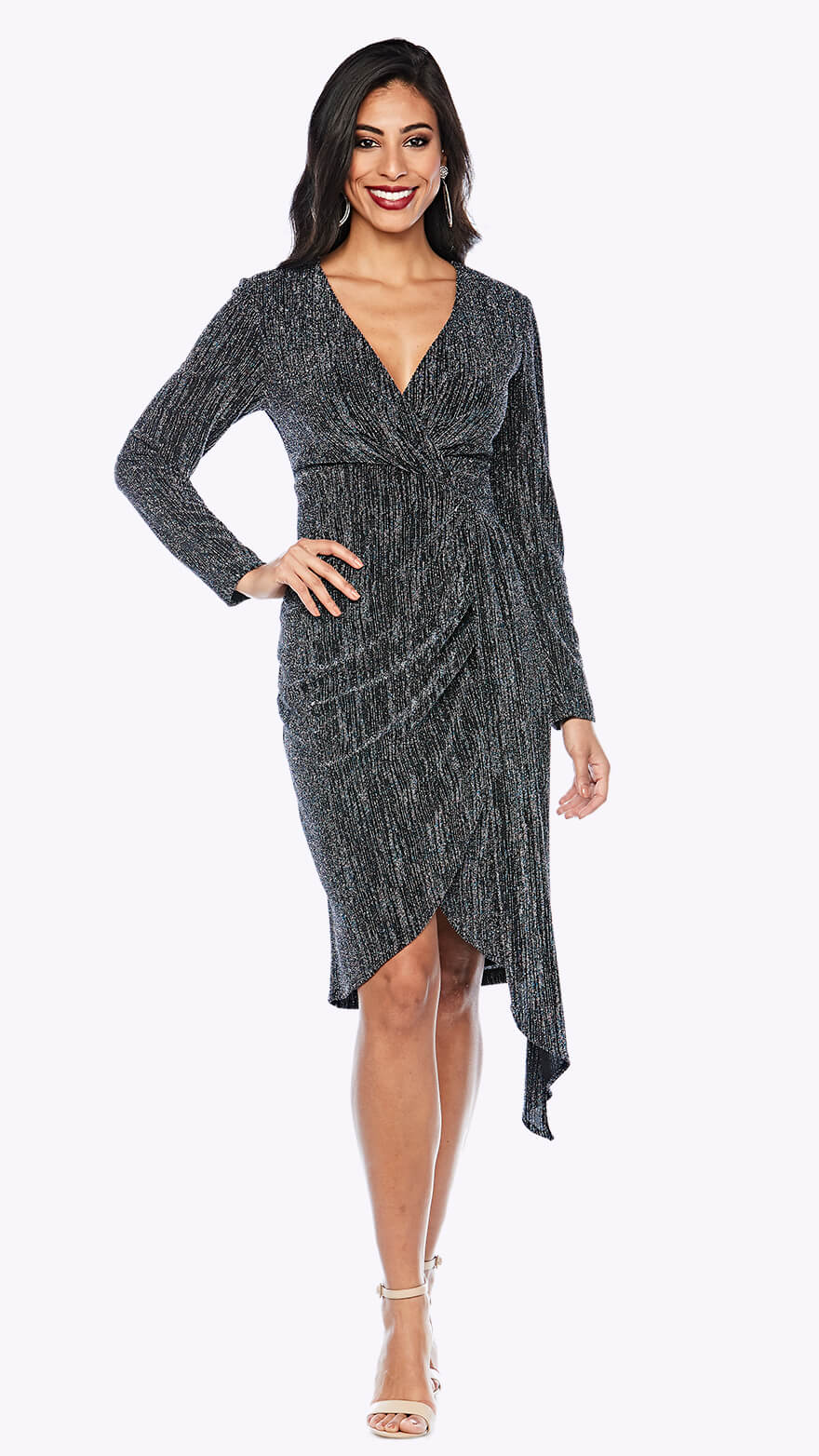 Z0203 Shimmer wrap style cocktail dress with full-length sleeve