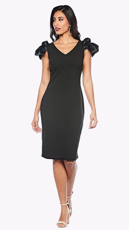 V neck cocktail length dress with contrasting satin rose detail on shoulders