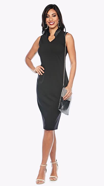 V neck cocktail length dress with contrasting satin collar detail