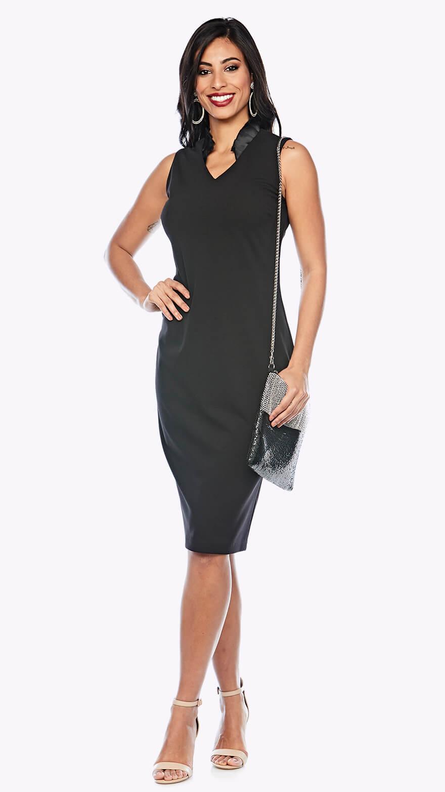 Z0298 V neck cocktail length dress with contrasting satin collar detail