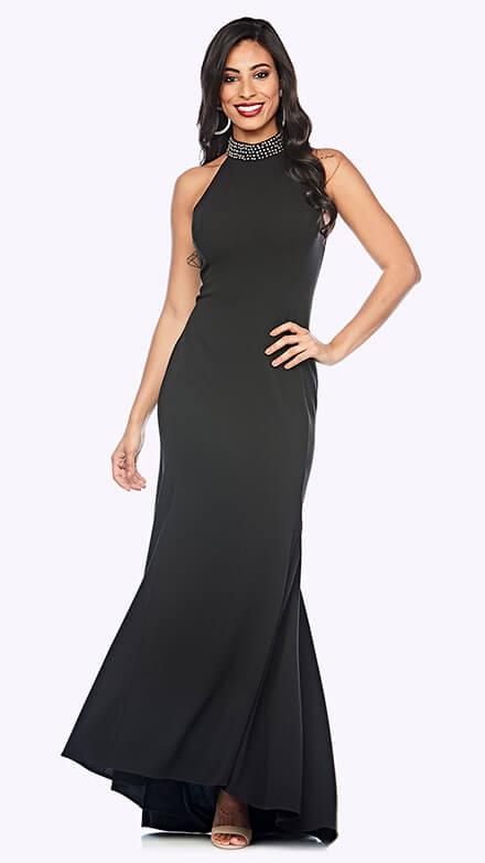 Full-length halter neck gown with fishtail skirt and studded detail on neckline