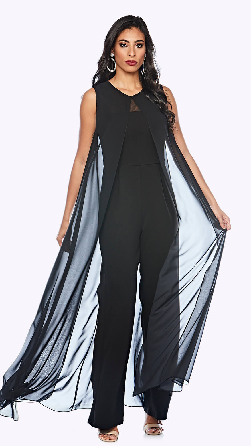 Z0209 Wide leg jumpsuit with chiffon overlay