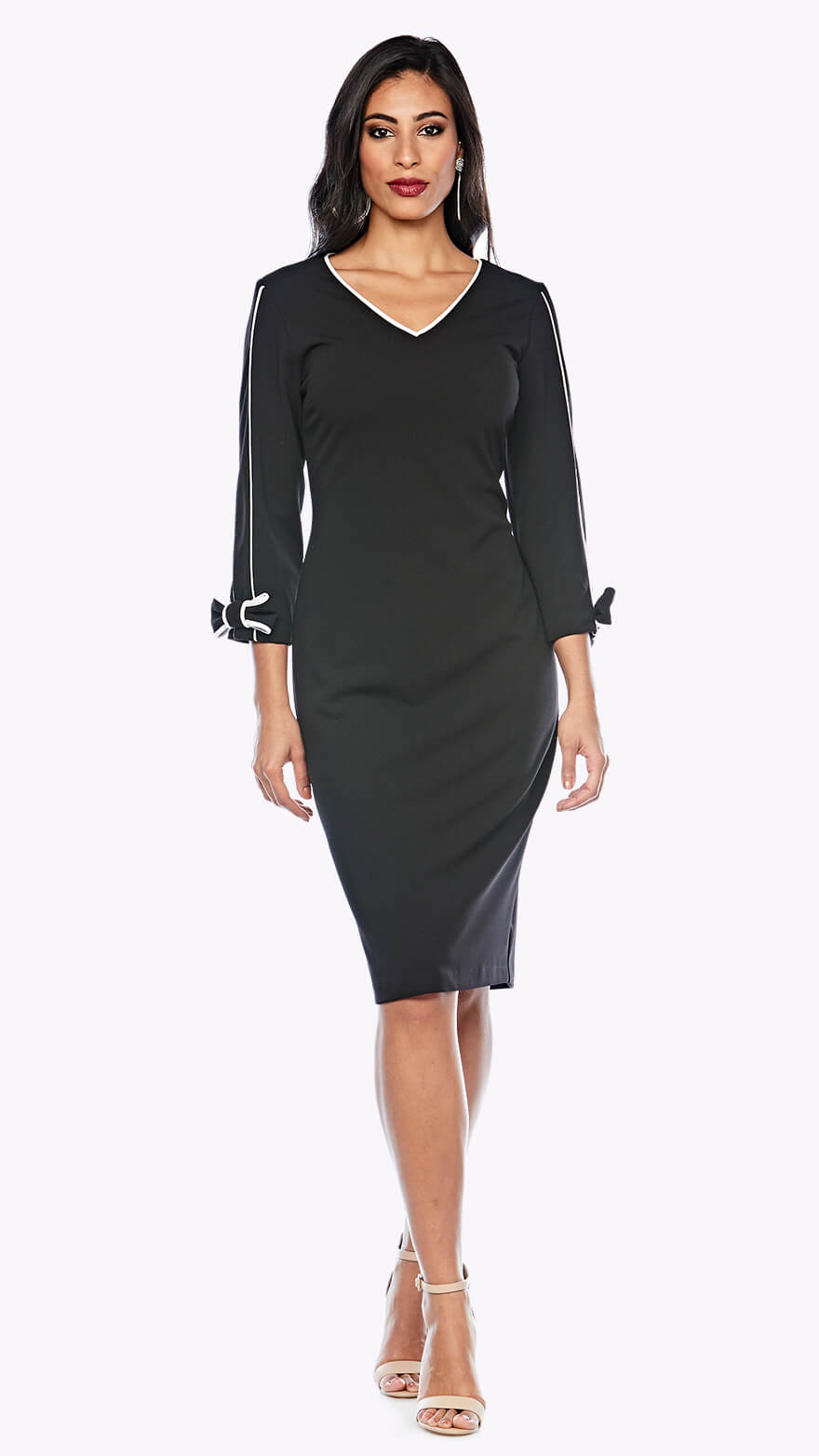 Z0211 V neck cocktail dress with 3/4 sleeve and contrast piping in white