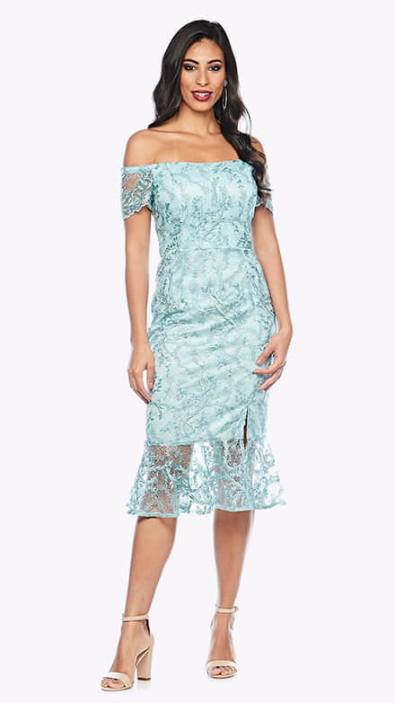 Lace off the shoulder cocktail dress with fluted hemline