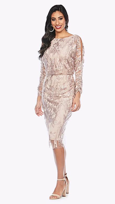 Blouson style gown with open full-length sleeve in graphic lace pattern