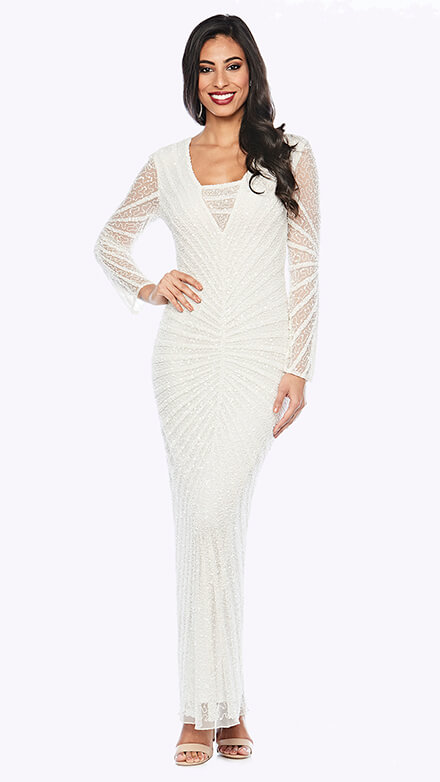 Mid-length beaded gown in geometric pattern with short sleeve