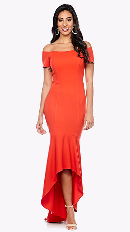 Off the shoulder gown with high to low fishtail hemline
