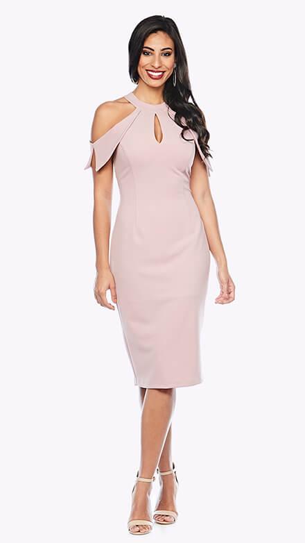 Cold-shoulder cocktail dress with keyhole front design