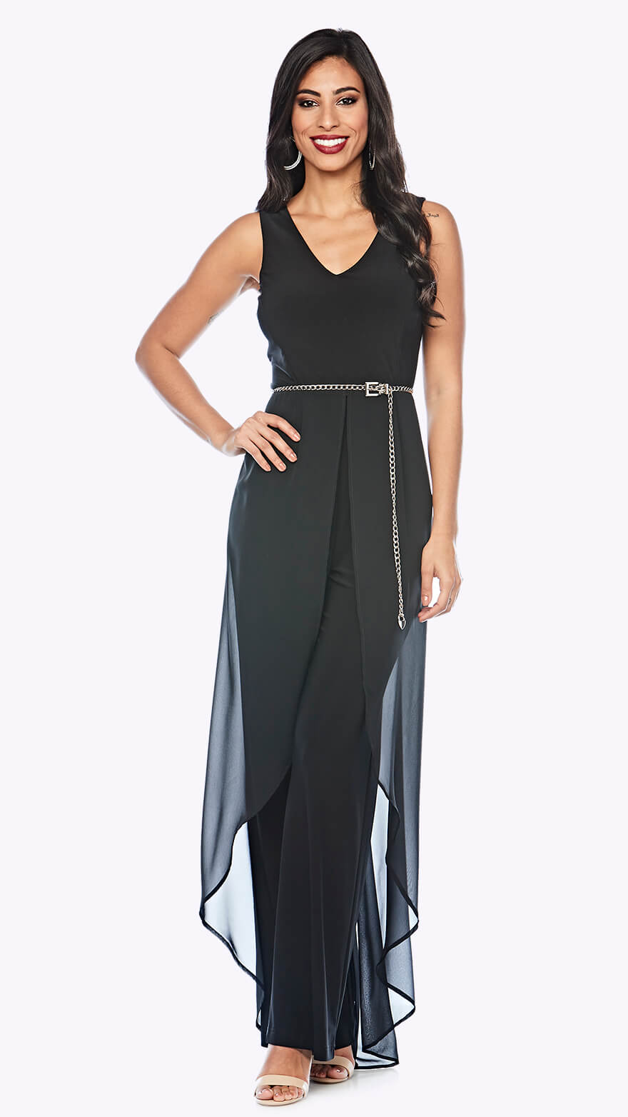 Z0224 V neck jumpsuit with chiffon overlay and silver belt