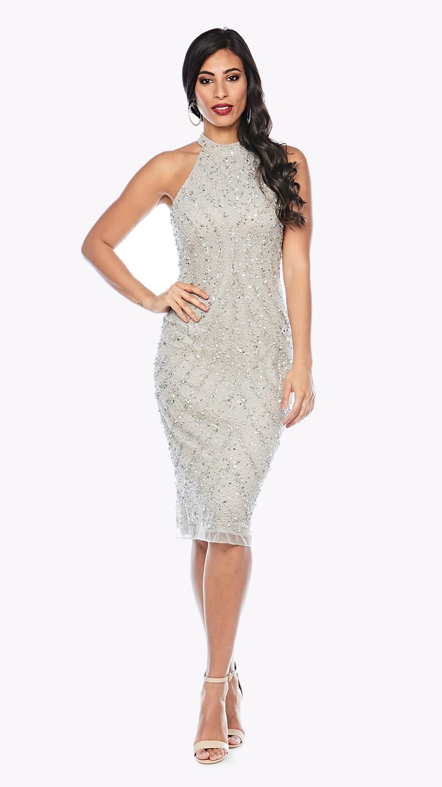 Z0226 Shimmery sequin halter neck cocktail dress
