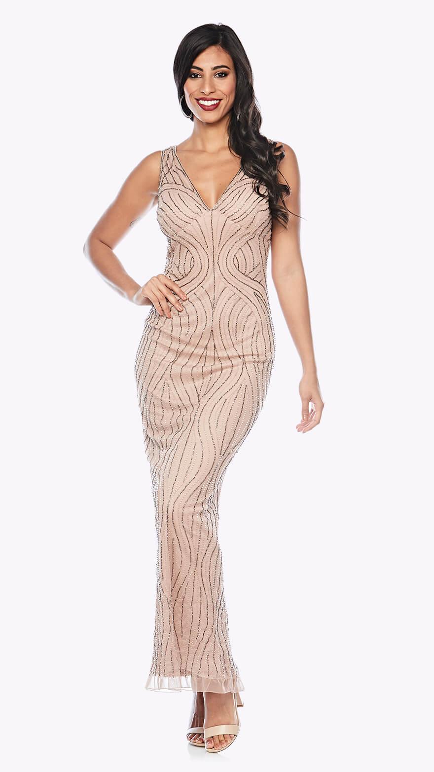 Z0228 Full-length beaded gown in organic pattern with V neckline