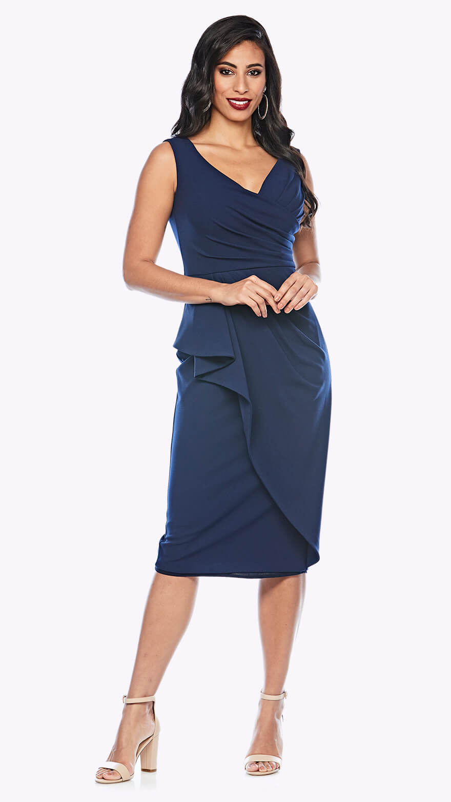 Z0231 Sleeveless cocktail dress with waterfall style wrap skirt