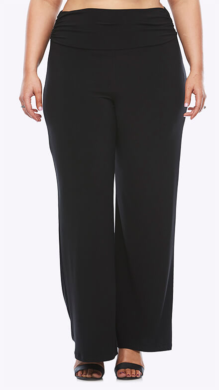 Stretch jersey wide leg pants with gathered waistband