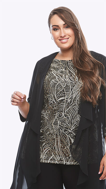 Metallic sequin top and chiffon jacket with matching sequin cuff