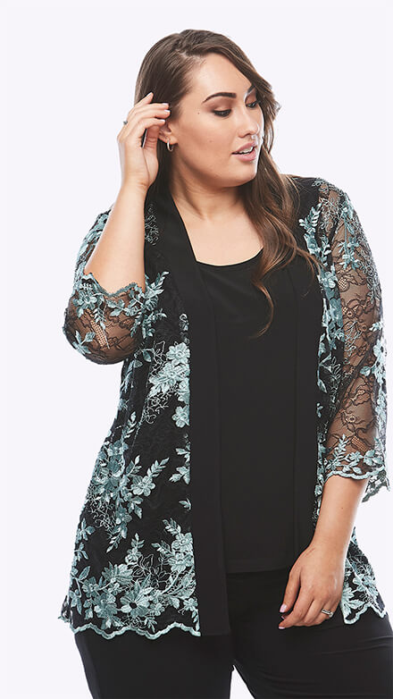 Soft lace jacket with 3/4 sleeves and stretch jersey cami top