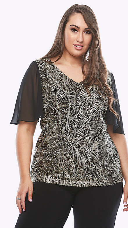 Metallic sequin V neck top with chiffon sleeves
