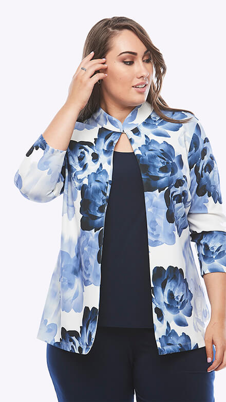 Printed crepe jacket with stretch jersey top