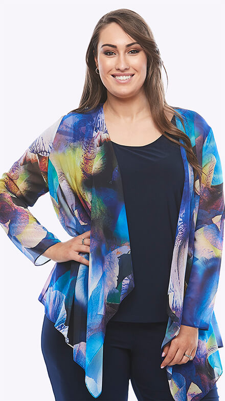 Stretch jersey cami and chiffon jacket in graphic orchid print