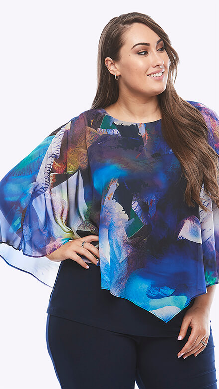 Stretch jersey top with chiffon overlay in graphic orchid print
