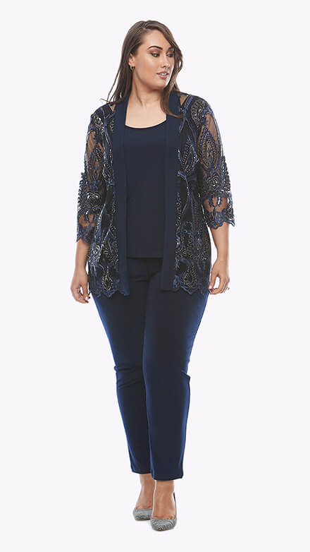 Three piece stretch jersey pantsuit with sequin embroidered mesh jacket