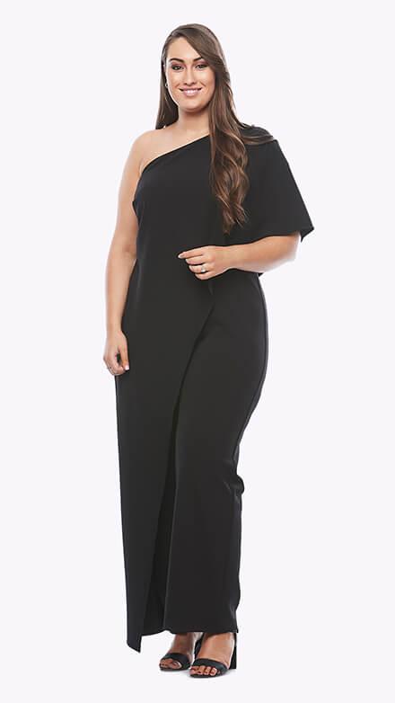 Asymmetrical one shoulder stretch crepe jumpsuit