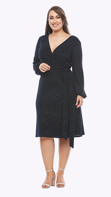Stretch jersey wrap dress with blouson sleeves