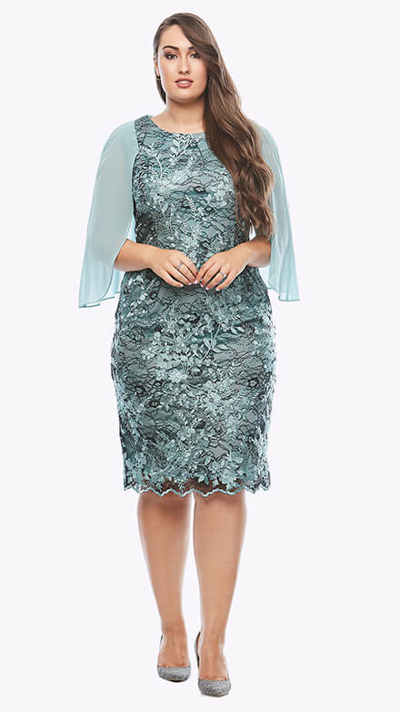 Cocktail lace dress with chiffon cape