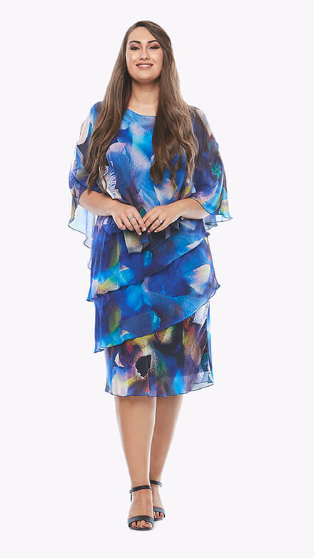 Chiffon layered knee-length dress with overlay and split sleeve detail in graphic orchid print