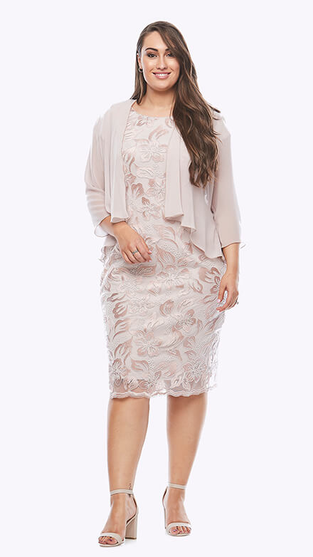 Lace dress with chiffon 3/4 sleeve waterfall jacket