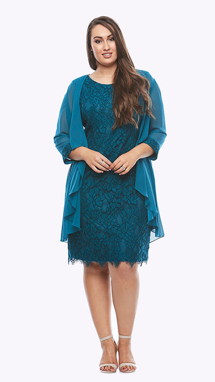 Corded lace dress with 3/4 sleeve chiffon jacket with matching cuff