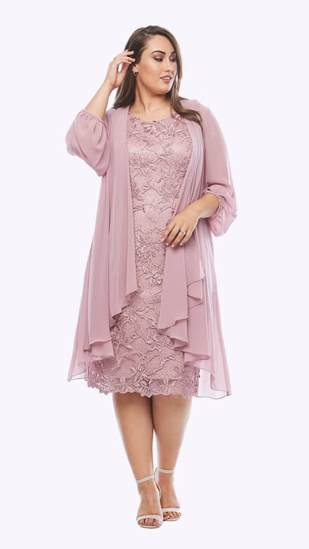Cocktail embroidered lace dress with waterfall chiffon jacket and blouson sleeve