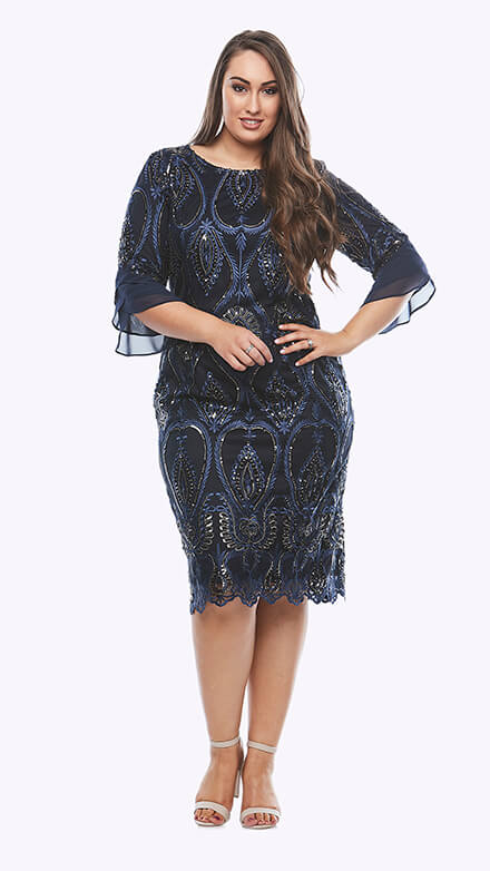 Sequin embroiderd mesh dress with chiffon petal sleeves