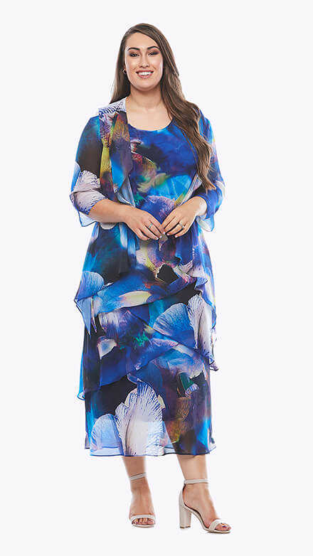 Layered full-length dress with matching waterfall chiffon jacket in graphic orchid print
