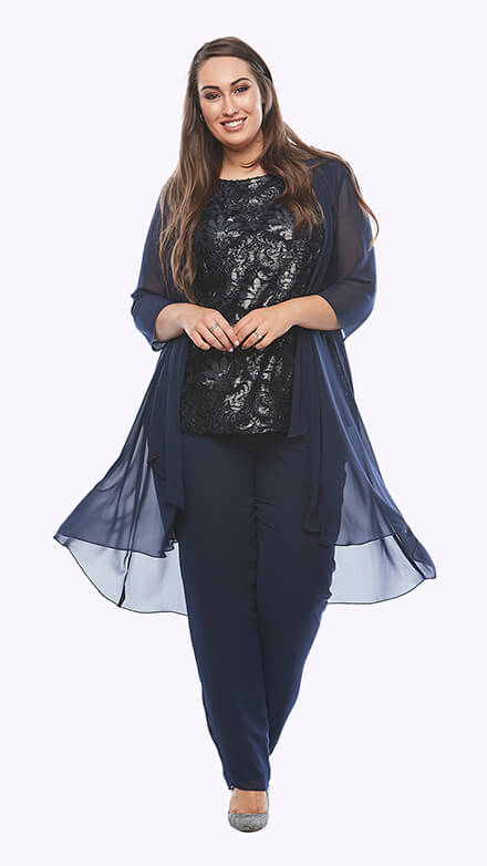 Three piece pantsuit with flocked lurex top and chiffon waterfall jacket