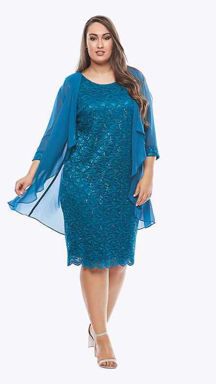 Mid-length sequin embroidered dress with scallop hem and 3/4 waterfall jacket and matching embroidered cuffs