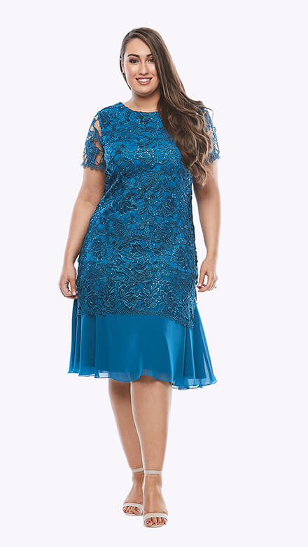Cocktail length sequin lace dress with chiffon skirt